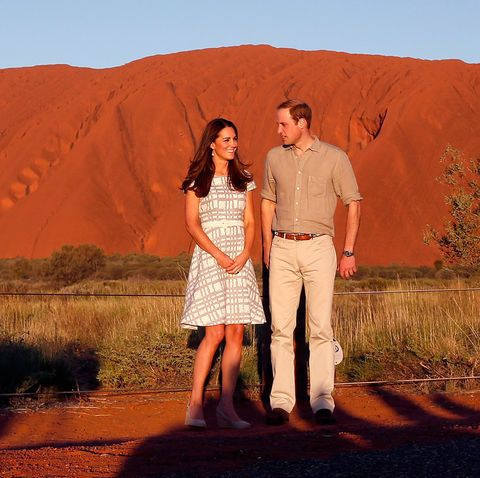 "<p>Kate changes into a fit and flare dress by Hobbs during her visit to Ayers Rock, Australia.</p> <p><strong>MORE ROYAL SHENANIGANS:</strong></p> <p><a href=""http://www.cosmopolitan.co.uk/fashion/kate-middletons-royal-style-109645?click=main_sr"" target=""_blank"">KATE MIDDLETON'S ROYAL STYLE CV</a></p> <p><a href=""http://www.cosmopolitan.co.uk/celebs/celebrity-gossip/kate-middleton-prince-william-george-photo?click=main_sr"" target=""_blank"">BABY GEORGE'S FIRST OFFICIAL PIC</a></p> <p><a href=""http://www.cosmopolitan.co.uk/love-sex/cosmo-centerfolds/prince-harry-william-lookalikes-naked-centrefolds?click=main_sr"" target=""_blank"">THE PRINCES STRIP FOR COSMO</a></p>"