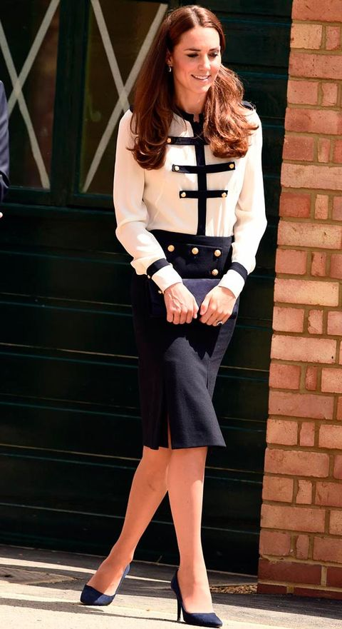 "<p>The Duchess dazzled for a visit to Bletchley Park in one of her greatest ever hits; this military-inspired skirt and blouse by Alexander McQueen.</p> <p><strong>MORE ROYAL SHENANIGANS:</strong></p> <p><a href=""http://www.cosmopolitan.co.uk/fashion/kate-middletons-royal-style-109645?click=main_sr"" target=""_blank"">KATE MIDDLETON'S ROYAL STYLE CV</a></p> <p><a href=""http://www.cosmopolitan.co.uk/celebs/celebrity-gossip/kate-middleton-prince-william-george-photo?click=main_sr"" target=""_blank"">BABY GEORGE'S FIRST OFFICIAL PIC</a></p> <p><a href=""http://www.cosmopolitan.co.uk/love-sex/cosmo-centerfolds/prince-harry-william-lookalikes-naked-centrefolds?click=main_sr"" target=""_blank"">THE PRINCES STRIP FOR COSMO</a></p>"
