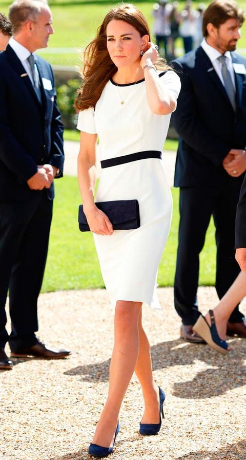 "<p>The Duchess showed off her thrifty side when she arrived at the National Maritime Museum wearing a sailor-inspired shift dress by Jaeger.</p> <p><strong>MORE ROYAL SHENANIGANS:</strong></p> <p><a href=""http://www.cosmopolitan.co.uk/fashion/kate-middletons-royal-style-109645?click=main_sr"" target=""_blank"">KATE MIDDLETON'S ROYAL STYLE CV</a></p> <p><a href=""http://www.cosmopolitan.co.uk/celebs/celebrity-gossip/kate-middleton-prince-william-george-photo?click=main_sr"" target=""_blank"">BABY GEORGE'S FIRST OFFICIAL PIC</a></p> <p><a href=""http://www.cosmopolitan.co.uk/love-sex/cosmo-centerfolds/prince-harry-william-lookalikes-naked-centrefolds?click=main_sr"" target=""_blank"">THE PRINCES STRIP FOR COSMO</a></p>"