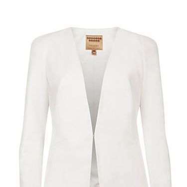 """<p>If you're going for a statement dress, steer clear of anything too fussy when it comes to bridal cover-ups. A simple sharp white blazer is all you need.</p><p>Structured Shoulder Jacket, £209, <a href=""""http://www.johnlewis.com/ted-baker-structured-shoulder-jacket-white/p1363785"""" target=""""_blank"""">Ted Baker</a></p><p> </p><p><a href=""""http://www.cosmopolitan.co.uk/fashion/shopping/12-incredible-high-street-wedding-dresses-budget"""" target=""""_blank"""">BEST BRIDAL GOWNS FROM THE HIGH STREET </a></p><p><a href=""""http://www.cosmopolitan.co.uk/fashion/shopping/short-bridesmaids-dresses-wear-again-uk"""" target=""""_blank"""">SHORT BRIDESMAID DRESSES YOU CAN WEAR AGAIN </a></p><p><a href=""""http://www.cosmopolitan.co.uk/fashion/shopping/v-a-wedding-dress-bridal-exhibition-pictures-2014"""" target=""""_blank"""">IN PICTURES: V&A WEDDING DRESS EXHIBITION</a></p>"""
