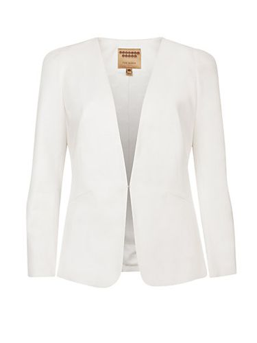 "<p>If you're going for a statement dress, steer clear of anything too fussy when it comes to bridal cover-ups. A simple sharp white blazer is all you need.</p> <p>Structured Shoulder Jacket, £209, <a href=""http://www.johnlewis.com/ted-baker-structured-shoulder-jacket-white/p1363785"" target=""_blank"">Ted Baker</a></p> <p> </p> <p><a href=""http://www.cosmopolitan.co.uk/fashion/shopping/12-incredible-high-street-wedding-dresses-budget"" target=""_blank"">BEST BRIDAL GOWNS FROM THE HIGH STREET </a></p> <p><a href=""http://www.cosmopolitan.co.uk/fashion/shopping/short-bridesmaids-dresses-wear-again-uk"" target=""_blank"">SHORT BRIDESMAID DRESSES YOU CAN WEAR AGAIN </a></p> <p><a href=""http://www.cosmopolitan.co.uk/fashion/shopping/v-a-wedding-dress-bridal-exhibition-pictures-2014"" target=""_blank"">IN PICTURES: V&A WEDDING DRESS EXHIBITION</a></p>"