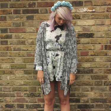 "<p>Playsuit, Topshop. Floral headband, <a href=""https://marketplace.asos.com/seller/fieldsofash"" target=""_blank"">Fields of Ash</a>. Kimono, Urban Outfitters. Shoes, Asos.</p>