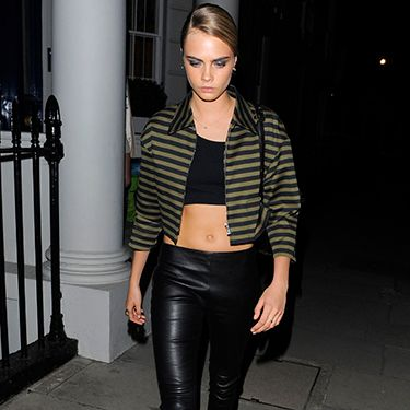 <p>Anyone else spot Cara looking very cool in leather last night? Leather trousers and crop tops are a dangerous combination but when paired with a retro-inspired cropped jacket and peep-toe shoe boots it can be a great look. Keep it simple if you're going for this - black on black never fails.</p>