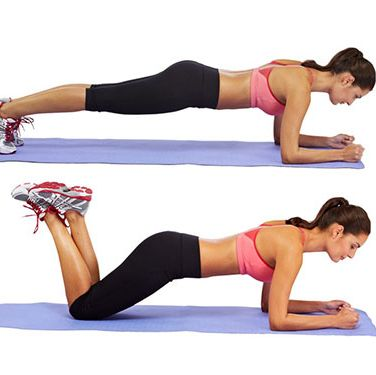 """<p>Lie on your front, your forearms on the floor, and elbows under your shoulders.</p><p>Push up until your whole body is off the floor, except your toes and forearms. Keep your back as parallel to the floor as possible by contracting your abdominals to protect your lower spine, and hold.</p><p>If you find this too difficult, try resting on your knees until you are stronger.</p><p><a href=""""http://www.cosmopolitan.co.uk/diet-fitness/fitness/flatten-your-stomach-with-pilates"""" target=""""_blank"""">FLATTEN YOUR TUMMY WITH PILATES</a></p><p><a href=""""http://www.cosmopolitan.co.uk/diet-fitness/fitness/at-home-workout-that-girl-charli-cohen-christina-howells"""" target=""""_blank"""">THE BUSY GIRL'S WORKOUT</a></p><p><a href=""""http://www.cosmopolitan.co.uk/diet-fitness/fitness/how-to-get-the-most-effective-workout"""" target=""""_blank"""">MAKE YOUR WORKOUT MORE EFFECTIVE</a></p>"""