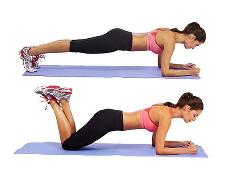 """<p>Lie on your front, your forearms on the floor, and elbows under your shoulders.</p> <p>Push up until your whole body is off the floor, except your toes and forearms. Keep your back as parallel to the floor as possible by contracting your abdominals to protect your lower spine, and hold.</p> <p>If you find this too difficult, try resting on your knees until you are stronger.</p> <p><a href=""""http://www.cosmopolitan.co.uk/diet-fitness/fitness/flatten-your-stomach-with-pilates"""" target=""""_blank"""">FLATTEN YOUR TUMMY WITH PILATES</a></p> <p><a href=""""http://www.cosmopolitan.co.uk/diet-fitness/fitness/at-home-workout-that-girl-charli-cohen-christina-howells"""" target=""""_blank"""">THE BUSY GIRL'S WORKOUT</a></p> <p><a href=""""http://www.cosmopolitan.co.uk/diet-fitness/fitness/how-to-get-the-most-effective-workout"""" target=""""_blank"""">MAKE YOUR WORKOUT MORE EFFECTIVE</a></p>"""
