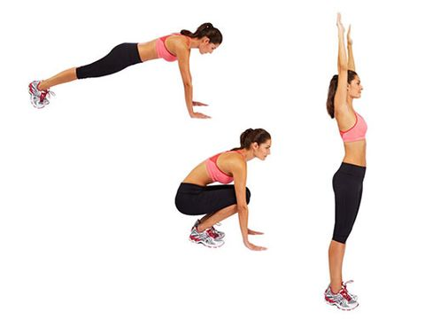 """<p>From a standing position, crouch down and place your hands flat on the floor.</p> <p>Jump your feet back into a press-up position.</p> <p>Jump your feet forwards to return to the crouching position, stand, raise your hands and jump up as high as you can.</p> <p><a href=""""http://www.cosmopolitan.co.uk/diet-fitness/fitness/flatten-your-stomach-with-pilates"""" target=""""_blank"""">FLATTEN YOUR TUMMY WITH PILATES</a></p> <p><a href=""""http://www.cosmopolitan.co.uk/diet-fitness/fitness/at-home-workout-that-girl-charli-cohen-christina-howells"""" target=""""_blank"""">THE BUSY GIRL'S WORKOUT</a></p> <p><a href=""""http://www.cosmopolitan.co.uk/diet-fitness/fitness/how-to-get-the-most-effective-workout"""" target=""""_blank"""">MAKE YOUR WORKOUT MORE EFFECTIVE</a></p>"""