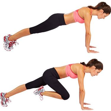 """<p>Start in an upright press-up position (hands on the floor directly underneath your shoulders, body lifted off the ground).</p><p>Lift your right foot off the floor and bring your knee up towards your chest, then return your foot to the start position. Repeat the movement with your left leg.</p><p>Alternate the movements between your left and right legs for the allocated time.</p><p><a href=""""http://www.cosmopolitan.co.uk/diet-fitness/fitness/flatten-your-stomach-with-pilates"""" target=""""_blank"""">FLATTEN YOUR TUMMY WITH PILATES</a></p><p><a href=""""http://www.cosmopolitan.co.uk/diet-fitness/fitness/at-home-workout-that-girl-charli-cohen-christina-howells"""" target=""""_blank"""">THE BUSY GIRL'S WORKOUT</a></p><p><a href=""""http://www.cosmopolitan.co.uk/diet-fitness/fitness/how-to-get-the-most-effective-workout"""" target=""""_blank"""">MAKE YOUR WORKOUT MORE EFFECTIVE</a></p>"""