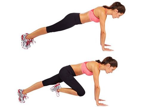 """<p>Start in an upright press-up position (hands on the floor directly underneath your shoulders, body lifted off the ground).</p> <p>Lift your right foot off the floor and bring your knee up towards your chest, then return your foot to the start position. Repeat the movement with your left leg.</p> <p>Alternate the movements between your left and right legs for the allocated time.</p> <p><a href=""""http://www.cosmopolitan.co.uk/diet-fitness/fitness/flatten-your-stomach-with-pilates"""" target=""""_blank"""">FLATTEN YOUR TUMMY WITH PILATES</a></p> <p><a href=""""http://www.cosmopolitan.co.uk/diet-fitness/fitness/at-home-workout-that-girl-charli-cohen-christina-howells"""" target=""""_blank"""">THE BUSY GIRL'S WORKOUT</a></p> <p><a href=""""http://www.cosmopolitan.co.uk/diet-fitness/fitness/how-to-get-the-most-effective-workout"""" target=""""_blank"""">MAKE YOUR WORKOUT MORE EFFECTIVE</a></p>"""