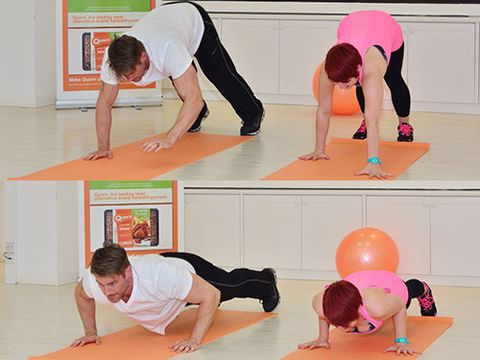 """<p><em>For strengthening arms, shoulders, back and core:</em></p> <p>1. Stand with your feet slightly apart and your hands by your sides</p> <p>2. Walk your hands forward until you're in push up position</p> <p>3. Do a push up</p> <p>4. Walk your hands back until you're standing again</p> <p><a title=""""5 THINGS PERSONAL TRAINERS WISH YOU KNEW"""" href=""""http://www.cosmopolitan.co.uk/diet-fitness/fitness/what-personal-trainers-wish-you-knew"""" target=""""_blank"""">5 THINGS PERSONAL TRAINERS WISH YOU KNEW</a></p> <p><a title=""""HOW TO GET MORE OUT OF YOUR SQUATS"""" href=""""http://www.cosmopolitan.co.uk/diet-fitness/fitness/how-to-get-more-out-of-squats"""" target=""""_blank"""">HOW TO GET MORE OUT OF YOUR SQUATS</a></p> <p><a title=""""5 MOVES FOR A TOTAL BODY WORKOUT"""" href=""""http://www.cosmopolitan.co.uk/diet-fitness/fitness/five-moves-total-body-workout"""" target=""""_blank"""">5 MOVES FOR A TOTAL BODY WORKOUT</a></p>"""