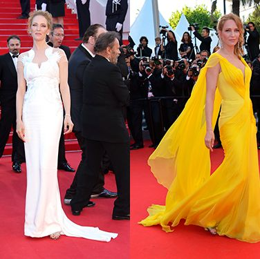 """<p>The Kill Bill star looked amazing in vibrant yellow Atelier Versace at the Clouds of Sils Maria pairing the chiffon flowing gown with Chopard earrings and a messy braided up-do. Her Marchesa ivory white gown was equally as enchanting - a more fitted dress, the sheer panelling detail across the shoulders and back was gorgeous.</p><p><a href=""""http://www.cosmopolitan.co.uk/fashion/shopping/this-week-best-dressed-12-may"""" target=""""_blank"""">BEST DRESSED OF THE WEEK: BLAKE LIVELY, ANGELINA AND MORE</a></p><p><a href=""""http://www.cosmopolitan.co.uk/fashion/shopping/celebs-looking-amazing-in-leather-trousers"""" target=""""_blank"""">HOW TO WEAR LEATHER TROUSERS</a></p><p><a href=""""http://www.cosmopolitan.co.uk/fashion/shopping/15-times-caroline-flack-looked-amazing"""" target=""""_blank"""">15 TIMES CAROLINE FLACK LOOKED AMAZING</a></p>"""