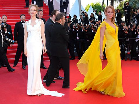 <p>The Kill Bill star looked amazing in vibrant yellow Atelier Versace at the Clouds of Sils Maria pairing the chiffon flowing gown with Chopard earrings and a messy braided up-do. Her Marchesa ivory white gown was equally as enchanting - a more fitted dress, the sheer panelling detail across the shoulders and back was gorgeous.</p>