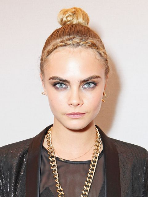 "<p>Add detail in other spots to accessorise your bun; Cara Delevingne upped a sleek topknot with a pretty hairline braid. Start at one ear and French plait your fringe until you reach the other side, using a Kirby grip to seal the style before pulling your lengths up high.</p> <p><a href=""http://www.cosmopolitan.co.uk/beauty-hair/beauty-tips/wedding-hair-inspiration-how-to-choose-hair-accessory?click=main_sr"" target=""_blank"">HOW TO CHOOSE A WEDDING HAIR ACCESSORY</a></p> <p><a href=""http://www.cosmopolitan.co.uk/beauty-hair/news/styles/hair-trends-spring-summer-2014?click=main_sr"" target=""_blank"">THE HUGE HAIR TRENDS FOR 2014</a></p> <p><a href=""http://www.cosmopolitan.co.uk/beauty-hair/news/beauty-news/how-to-do-festival-plait-hairstyle?click=main_sr"" target=""_blank"">HAIR HOW-TO: FESTIVAL PLAITS</a></p>"