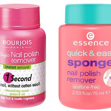 """<p><strong>The original: Bourjois Magic Nail Polish Remover, £4.99 <a href=""""http://www.boots.com"""" target=""""_blank"""">boots.com</a></strong><br />The launch of this caused an absolute stir in the beauty world and it wasn't long before a whole host of similar products came along. It's such a simple but effective idea, and why did it take so long for someone to come up with this? Simply dip your painted finger in the pot, twist it around and remove – et voila, clean nails ready for redecorating.</p><p><strong>The dupe: Essence Quick & Easy Sponge Nail Polish Remover, £2.99 (available at Wilko nationwide from next month)</strong><br />We were a bit skeptical about this but actually, Essence as a brand has impressed us. It's due to make its UK debut next month in Wilko (available now in Westfield White City, London) and this for us is a hero product of the range. Ok, so the packaging isn't as attractive as Bourjois but the sponge is super soft (v important!), it removes polish a treat and it isn't at all drying. Amazing.</p>"""