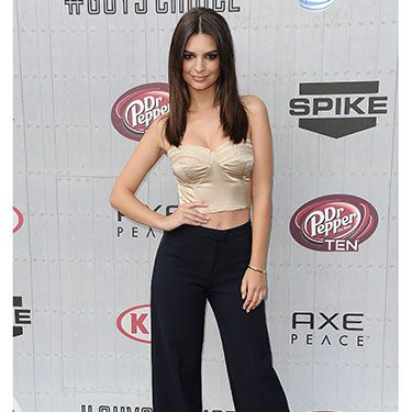 """<p>There were no <em>Blurred Lines </em>for model/actress Emily (sorry not sorry) who opted for sleek lines in seasonal high waisted flared trousers and a champagne cropped bustier. </p><p><a href=""""http://www.cosmopolitan.co.uk/fashion/news/best-of-the-cfda-red-carpet?page=1"""" target=""""_blank"""">15 BEST DRESSED AT THE CFDA AWARDS</a></p><p><a href=""""http://www.cosmopolitan.co.uk/celebs/entertainment/rihanna-hits-back-at-critics-over-that-nipple-baring-dress?click=main_sr"""" target=""""_blank"""">RIHANNA'S CONTROVERSIAL SEE-THROUGH DRESS</a></p><p><a href=""""http://www.cosmopolitan.co.uk/fashion/shopping/festival-season-essentials"""" target=""""_blank"""">FESTIVAL SEASON FASHION ESSENTIALS</a></p>"""