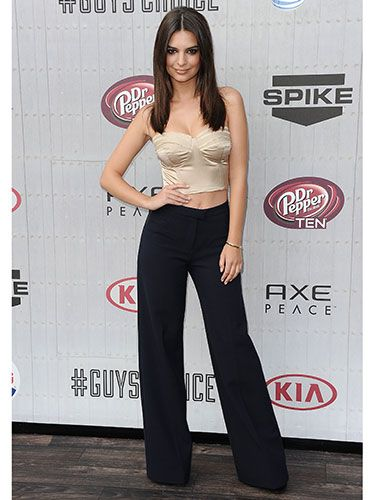 "<p>There were no <em>Blurred Lines </em>for model/actress Emily (sorry not sorry) who opted for sleek lines in seasonal high waisted flared trousers and a champagne cropped bustier. </p> <p><a href=""http://www.cosmopolitan.co.uk/fashion/news/best-of-the-cfda-red-carpet?page=1"" target=""_blank"">15 BEST DRESSED AT THE CFDA AWARDS</a></p> <p><a href=""http://www.cosmopolitan.co.uk/celebs/entertainment/rihanna-hits-back-at-critics-over-that-nipple-baring-dress?click=main_sr"" target=""_blank"">RIHANNA'S CONTROVERSIAL SEE-THROUGH DRESS</a></p> <p><a href=""http://www.cosmopolitan.co.uk/fashion/shopping/festival-season-essentials"" target=""_blank"">FESTIVAL SEASON FASHION ESSENTIALS</a></p>"