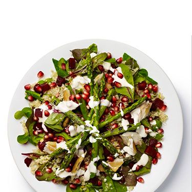 <p><strong>BASE</strong>: Lamb's lettuce and red chard<br /><br /><strong>CARB</strong>: Quinoa<br /><br /><strong>VEG/FRUIT</strong>: Beetroot (chopped), alfalfa sprouts, asparagus<br /><br /><strong>PROTEIN</strong>: Mackerel<br /><br /><strong>DRESSING</strong>: Yoghurt and mint<br /><br /><strong>EXTRAS</strong>: Pomegranate seeds</p>