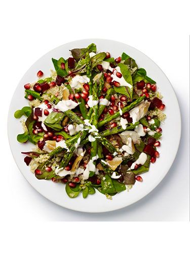 "<p><strong>BASE</strong>: Lamb's lettuce and red chard<br /><br /><strong>CARB</strong>: Quinoa<br /><br /><strong>VEG/FRUIT</strong>: Beetroot (chopped), alfalfa sprouts, asparagus<br /><br /><strong>PROTEIN</strong>: Mackerel<br /><br /><strong>DRESSING</strong>: Yoghurt and mint<br /><br /><strong>EXTRAS</strong>: Pomegranate seeds</p> <p><a href=""http://www.cosmopolitan.co.uk/diet-fitness/diets/stop-unhealthy-office-snacking"" target=""_blank"">STOP UNHEALTHY OFFICE SNACKING</a></p> <p><a href=""http://www.cosmopolitan.co.uk/diet-fitness/diets/how-to-eat-healthy"" target=""_blank"">7 STEPS TO A HEALTHIER DIET</a></p> <p><a href=""http://www.cosmopolitan.co.uk/diet-fitness/diets/eat-healthy-on-a-budget-recipes"" target=""_blank"">EAT HEALTHY ALL WEEK FOR £15</a></p>"