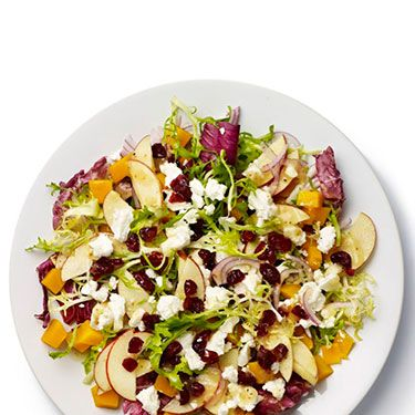<p><strong>BASE</strong>: Frisée and radicchio<br /><br /><strong>CARB</strong>: Granary bread<br /><br /><strong>VEG/FRUIT:</strong> Apple, red onion, butternut squash<br /><br /><strong>PROTEIN</strong>: Goat's cheese<br /><br /><strong>DRESSING:</strong> Vinaigrette<br /><br /><strong>EXTRAS:</strong> Cranberries</p>