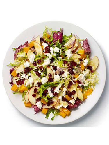 "<p><strong>BASE</strong>: Frisée and radicchio<br /><br /><strong>CARB</strong>: Granary bread<br /><br /><strong>VEG/FRUIT:</strong> Apple, red onion, butternut squash<br /><br /><strong>PROTEIN</strong>: Goat's cheese<br /><br /><strong>DRESSING:</strong> Vinaigrette<br /><br /><strong>EXTRAS:</strong> Cranberries</p> <p><a href=""http://www.cosmopolitan.co.uk/diet-fitness/diets/stop-unhealthy-office-snacking"" target=""_blank"">STOP UNHEALTHY OFFICE SNACKING</a></p> <p><a href=""http://www.cosmopolitan.co.uk/diet-fitness/diets/how-to-eat-healthy"" target=""_blank"">7 STEPS TO A HEALTHIER DIET</a></p> <p><a href=""http://www.cosmopolitan.co.uk/diet-fitness/diets/eat-healthy-on-a-budget-recipes"" target=""_blank"">EAT HEALTHY ALL WEEK FOR £15</a></p>"