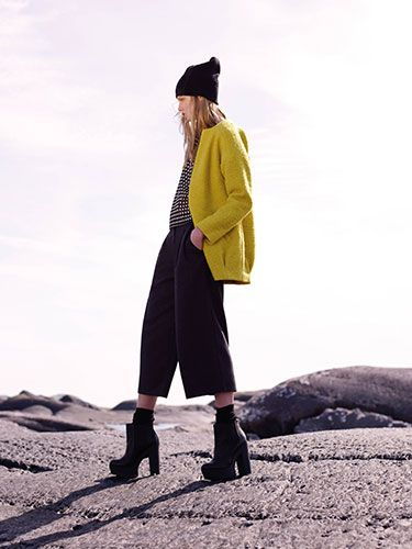 "<p>Yellow texture coat, £25</p> <p>Monochrome top, £6</p> <p>Black culottes, £14</p> <p>Boots, £24</p> <p>Hat, £2</p> <p><a href=""http://www.cosmopolitan.co.uk/fashion/news/future-of-dress-sizes-asos"" target=""_blank"">IS THIS THE FUTURE OF DRESS SIZES?</a></p> <p><a href=""http://www.cosmopolitan.co.uk/fashion/news/ultimo-release-boob-job-bikini"" target=""_blank"">ULTIMO RELEASE THE 'BOOB JOB' BIKINI</a></p> <p><a href=""http://www.cosmopolitan.co.uk/fashion/news/festival-fashion-street-style-isle-of-wight"" target=""_blank"">ISLE OF WIGHT FESTIVAL STREET STYLE</a></p>"