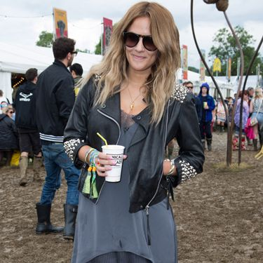 <p>Another star who never lets a festival go missed, Caroline Flack has mud-traipsing style down to an utter tee. Toughening up a floaty dress with a studded leather jacket, she's hitting a festival theme with this look&#x3B; splattered Hunter boots.</p>