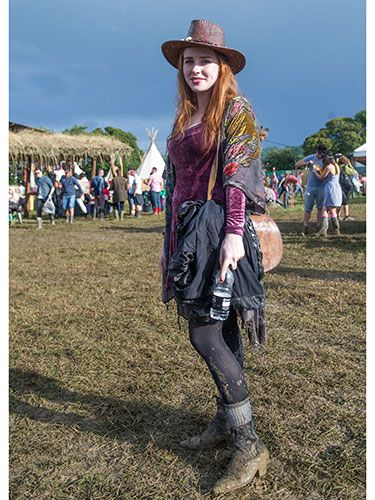 "<p>We <em>love</em> how well the colours of 20-year-old Kim's clothes match her gorgeous red hair. Adding an embellished kimono over the top of her burgundy velvet dress was a winning idea, and it's all topped off beautifully by that brown leather hat.</p> <p><a href=""http://www.cosmopolitan.co.uk/fashion/news/festival-fashion-street-style-isle-of-wight"" target=""_blank"">ISLE OF WIGHT FESTIVAL STREET STYLE</a></p> <p><a href=""http://www.cosmopolitan.co.uk/celebs/celebrity-gossip/celebrities-at-glastonbury-festival-2014"" target=""_blank"">CELEBRITIES AT GLASTONBURY 2014</a></p> <p><a href=""http://www.cosmopolitan.co.uk/campus/summer-full-festivals-cheap-volunteering"" target=""_blank"">HOW TO NAB A SUMMER FULL OF FESTIVALS ON THE CHEAP</a></p>"