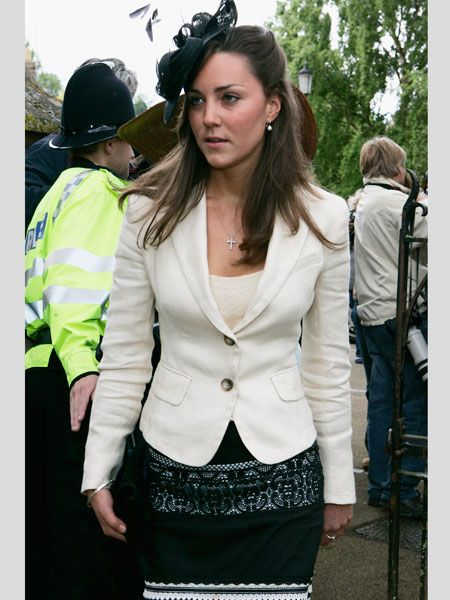 <p>Follow Cosmo as we style stalk the newly engaged Kate Middleton<br /></p><p> </p><p>Left: One of Kate's earliest appearances as William's girlfriend Kate attended the society wedding of Hugh Van Custem Junior and Rose Astor in June 2005. Teaming a black lace detail skirt with a cream fitted jacket Kate went for simple sophistication<br /></p><p> </p><p> </p>