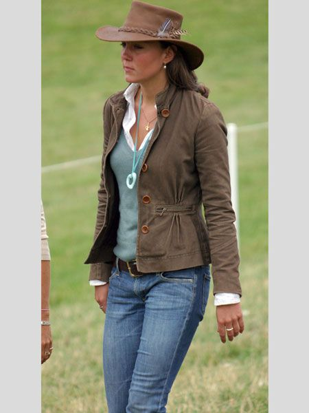 Skipping forward a few months to August 2005 and Kate takes on rural high society chic at the Gatcombe Festival. We are loving the leather brimmed hat and feather combo!<br />