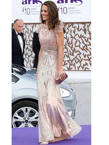 Wow! Kate Middleton stole the show when she arrived wearing this Jenny Packham, nude sequin dress. Gossip Girl's Blair Wardorf also wore it in the show - the ultimate princess dress