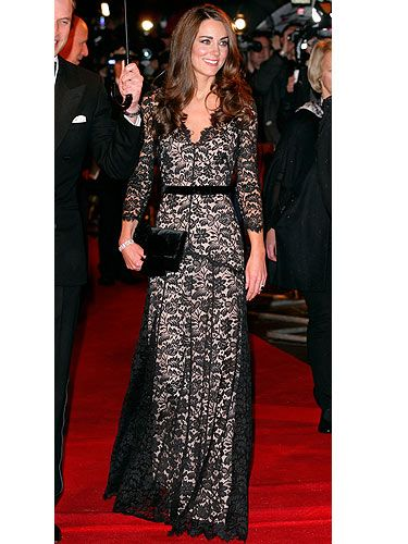 On the night before Kate Middleton's 30th birthday she graced the red carpet for the London premiere of 'War Horse'. There's no doubt about it, the birthday girl looked fabulous in a black lace gown by Alice Temperley, with her brunette tresses loose and super shiny. As for jewellery the Duchess decided to keep it simple, opting for a silver bracelet and her exquisite engagement ring