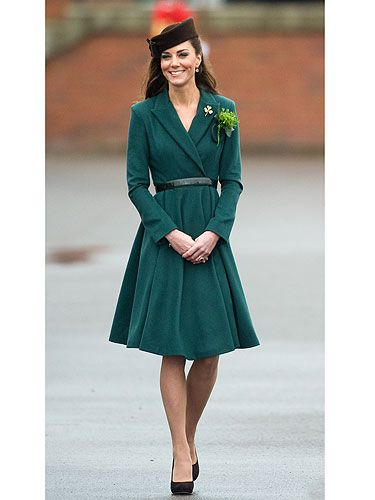 <p>We loved Kate Middleton's gorgeous green ensemble when she stepped out on her first solo military engagament. In a fitting tribute to St Patrick's Day, the Duchess selected a £1,150 bottle-green coat dress by Emilia Wickstead, teaming it with a brown felt cap from Lock and Co. Of course, it was the sprig of shamrock and gold shamrock brooch that really caught everyone's eye in the accessories department!</p>
