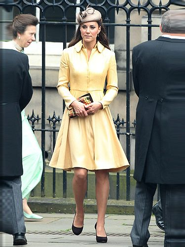 <p>Kate Middleton pulled out all the stops for hubby Prince Will's Order Of The Thistle ceremony - this bespoke primrose coat dress by Emilia Wickstead was perfect for the royal occasion. The pale yellow hue showed off her golden tan to perfection and we adore how it nipped-in around her enviable waist. </p>