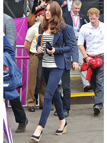 <p>Kate Middleton is loving the London Olympics - she's rocked up two days in a row! Looking sharp in her tight indigo jeans, blue and and white-striped top and her hair big and bouncy - we're loving her London look!</p>