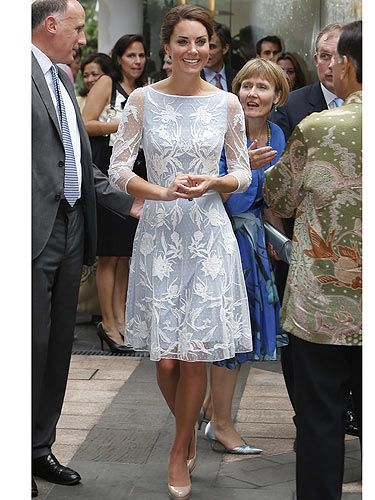 <p>We heart Kate Middleton's gorgeous Temperley London dress! Continuing her fashion parade around Asia, Kate put her media boob troubles behind her as she attended a tea party in Kuala Lumpur this morning. The pale blue under dress compliments the lace top perfectly and paired with her trust L.K.Bennet shoes, Kate had one fail proof outfit. Very elegant KMiddy!</p>