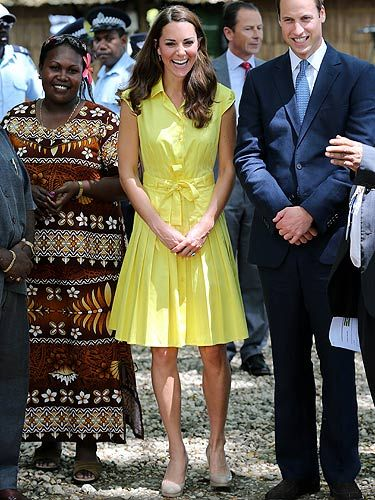 <p>Kate Middleton looked bright and beautiful as she continued the Diamond Jubilee Tour. This yellow shirt dress from Jaeger not only showed off her super toned arms but was also perfect for brightening up a dull day and boosting a bad mood. She puts on her fave nude L.K.Bennet heels (they've definitely been a good buy ay KMiddy?) and she looks perfect for another day touring. We think this may be our best outfit yet, what do you think?</p>