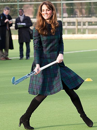 <p>Kate Middleton paid a visit to her former school, St. Andrews on Friday. The 30-year-old royal wore an Alexander McQueen coat dress teamed with her fave boots. And look, KMiddy even joined in with the fun and games by grabbing a hockey stick - go Kate! Did she score a fashion goal or was this look too predictable? Our verdict: GOAL!</p>