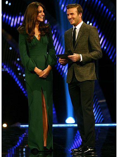 <p>The Duchess of Cambridge looked gorgeous in green Alexander McQueen at the Sports Personality of the Year Awards 2012. And doesn't William look handsome?! We joke, of course. Kate shared the stage with the HOTTEST man on Planet Earth, David Beckham. The pair presented Bradley Wiggins with the Sports Personality of the Year trophy. Ah, let bump watch commence...</p>