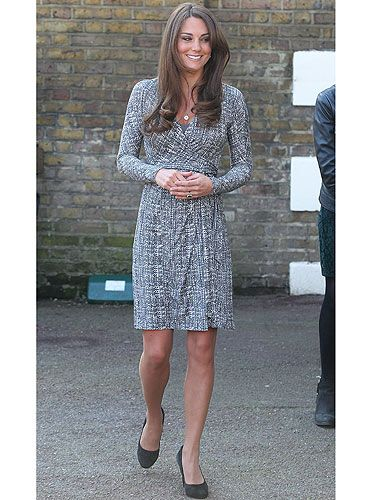 <p>The Duchess of Cambridge headed back to work for the first time this year wearing a wrap dress from MaxMara. Kate Middleton returned to the day job following her holiday to the Caribbean with her husband Prince William. KMiddy teamed her Max Mara wrap dress with a pair of black suede court shoes and an Asprey 167 Button Pendant.</p>