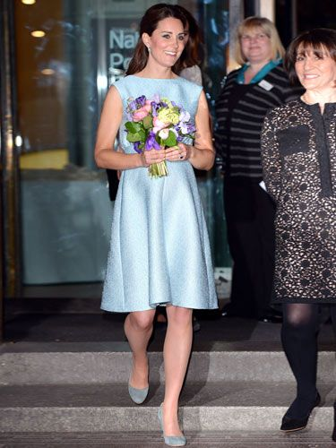 Kate Middleton took advantage of the glorious weather this week as she arrived at London's National Portrait Gallery in a dainty duck egg blue cocktail dress – and no coat! The Duchess looked radiant in the Emilia Wickstead frock, showing off her toned arms and legs… and of course, her growing baby bump. We love Kate's relaxed half pony tail and grey suede heels, but it was that sapphire wedding ring that really caught our attention as it popped beautifully against her dress. Simply stunning.