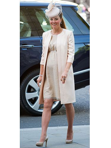 <p>A pregnant Kate Middleton has attended a service to mark the 60th anniversary of the Queen's Coronation at Westminster Abbey - yep, back to where she married Prince Wills back in April 2011. The Duchess of Cambridge wore a loose fitting Jenny Packham dress which she matched with a long jacket and her trusty nude LK Bennett heels. This will be Kate's last official public outing, as she'll be going on maternity leave on 13th June. We bet she can't wait to throw on a pair of jogging bottoms and watch Loose Women on the royal sofa.</p>