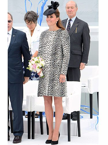 <p>Take a long hard look because this is Kate Middleton's final solo outing before she goes on maternity leave. The Duchess Of Cambridge - and her bump - arrived in Southampton to officially name the new 'Royal Princess' cruise ship. KMiddy looked fashionable in a dalmatian print mac by Hobbs, and at a mere £169, it's perfect on the purse strings. She teamed her stylish ensemble with a pair of black court shoes. YES, she's still wearing heels! Kate, we salute you.</p>