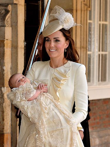 <p>There is nothing wrong with this picture, right? Kate looked radiant in her go-to designer Alexander McQueen as she matched baby George in cream. As always we love the simplicity of her look - the ruffled lapel was the only detailing on the dress. Her headpiece has made us rethink the whole fascinator look (previously reserved for events such as Ascot only) - but Kate manages to make it look chic. She chose the perfect accessory too - Prince George in all his glory. </p> <p> </p>