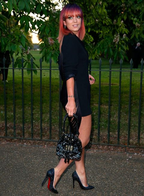 Lily's LBD let her sequinned Chanel backpack and rainbow-coloured locks do all the talking.
