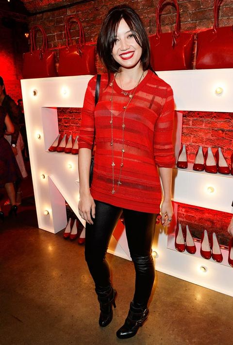 <p>The gorgeous Daisy Lowe opted for leather-look leggings and a bright top in just the right shade of Virgin Atlantic red.</p>