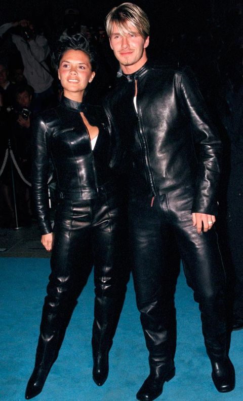 <p>Easily the Holy Grail of all David and Victoria pictures, this beauty was taken just a month before the pair got married. Matching Versace leather suits? Why not!</p>