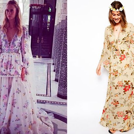 """<p>Poppy left us all speechless when she wore a bespoke Chanel dress to her wedding in the UK. But then, we saw this.</p><p>Yes, on the Marrakesh leg of her wedding, (because every girl should get to wear two wedding dresses), we couldn't contain our excitement on seeing Peter Dundas, Emilio Pucci creative director, Instagramming Poppy wearing this totally amazing floral creation.</p><p>For a cheaper way to channel Poppy's boho bridal vibe, turn to ASOS and <a href=""""http://www.asos.com/ASOS/ASOS-Vintage-Kimono-Maxi-Dress/Prod/pgeproduct.aspx?iid=3919575&cid=9979&sh=0&pge=0&pgesize=204&sort=2&clr=Print"""" target=""""_blank"""">this £75 vintage maxi dress</a>.</p><p><a href=""""http://preview.www.cosmopolitan.co.uk/fashion/celebrity/celebrity-style-gallery"""" target=""""_blank"""">THIS WEEK'S BEST CELEBRITY FASHION</a></p><p><a href=""""http://preview.www.cosmopolitan.co.uk/fashion/celebrity/celebrity-style-wireless-festival"""" target=""""_blank"""">CELEB STYLE AT WIRELESS FESTIVAL</a></p>"""