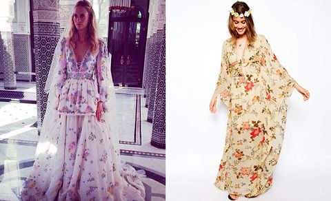 """<p>Poppy left us all speechless when she wore a bespoke Chanel dress to her wedding in the UK. But then, we saw this.</p> <p>Yes, on the Marrakesh leg of her wedding, (because every girl should get to wear two wedding dresses), we couldn't contain our excitement on seeing Peter Dundas, Emilio Pucci creative director, Instagramming Poppy wearing this totally amazing floral creation.</p> <p>For a cheaper way to channel Poppy's boho bridal vibe, turn to ASOS and <a href=""""http://www.asos.com/ASOS/ASOS-Vintage-Kimono-Maxi-Dress/Prod/pgeproduct.aspx?iid=3919575&cid=9979&sh=0&pge=0&pgesize=204&sort=2&clr=Print"""" target=""""_blank"""">this £75 vintage maxi dress</a>.</p> <p><a href=""""http://preview.www.cosmopolitan.co.uk/fashion/celebrity/celebrity-style-gallery"""" target=""""_blank"""">THIS WEEK'S BEST CELEBRITY FASHION</a></p> <p><a href=""""http://preview.www.cosmopolitan.co.uk/fashion/celebrity/celebrity-style-wireless-festival"""" target=""""_blank"""">CELEB STYLE AT WIRELESS FESTIVAL</a></p>"""
