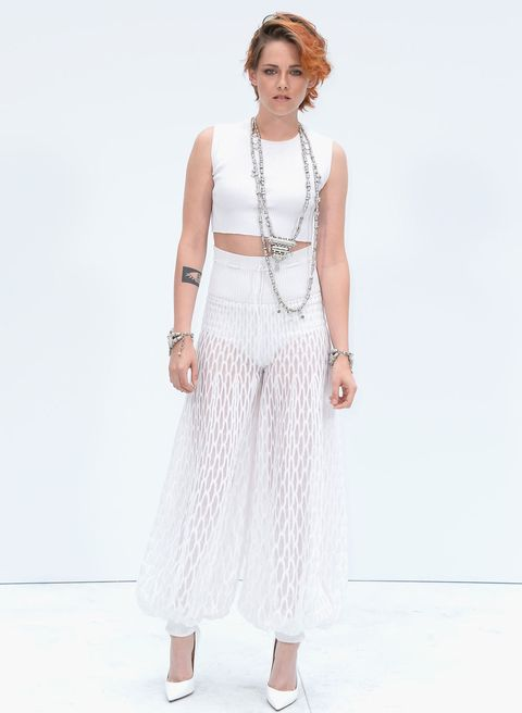 "<p>Has Kristen ever looked this cool before? No. Never. Ever.</p> <p>The Twilight actress not only debuted a brand new crop, but also showed off her fashion prowess in an all-white Chanel ensemble.</p> <p>K-Stew's ribbed white crop top and sheer trousers made her look every inch a star, with her quirky crop and Chanel jewellery completing the look.</p> <p><a href=""http://www.cosmopolitan.co.uk/fashion/celebrity/celebrity-style-gallery"">THIS WEEK'S BEST CELEBRITY STYLE</a></p> <p><a href=""http://www.cosmopolitan.co.uk/fashion/news/paris-fashion-week-versace"" target=""_blank"">J.LO STUNS IN SILVER AT VERSACE</a></p> <p><a href=""http://www.cosmopolitan.co.uk/fashion/shopping/celebrity-weddings-1"" target=""_blank"">AMAZING ALTERNATIVE CELEBRITY BRIDAL LOOKS</a></p>"