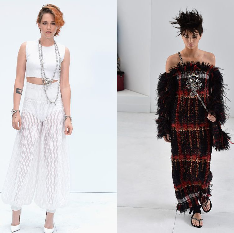 <p>It was the Kristen and Kendall show in Paris on Tuesday as both stars played their part in the Chanel catwalk show at Haute Couture fashion week.</p><p>While Kristen lead the charge of stylish celebs on the front row, Kendall Jenner stood out on the runway for the design house.</p><p>Both stars were sporting never-seen-before hairstyles - Kristen's perhaps a tad more permanent than Kendall's - and were looking chic in their Chanel get-up.</p><p>Jared Leto, Lily Cole and Poppy Delevingne also attended the show.</p><p><em><strong>Click through the gallery to see more pictures...</strong></em></p><p><em><strong><br /></strong></em></p>
