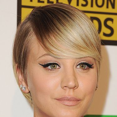 <p>Kaley's hair just keeps getting shorter. Her latest look is this Twiggy-esque sleekly styled crop. We love.</p>